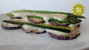 Verduras a la plancha con bechamel vegana