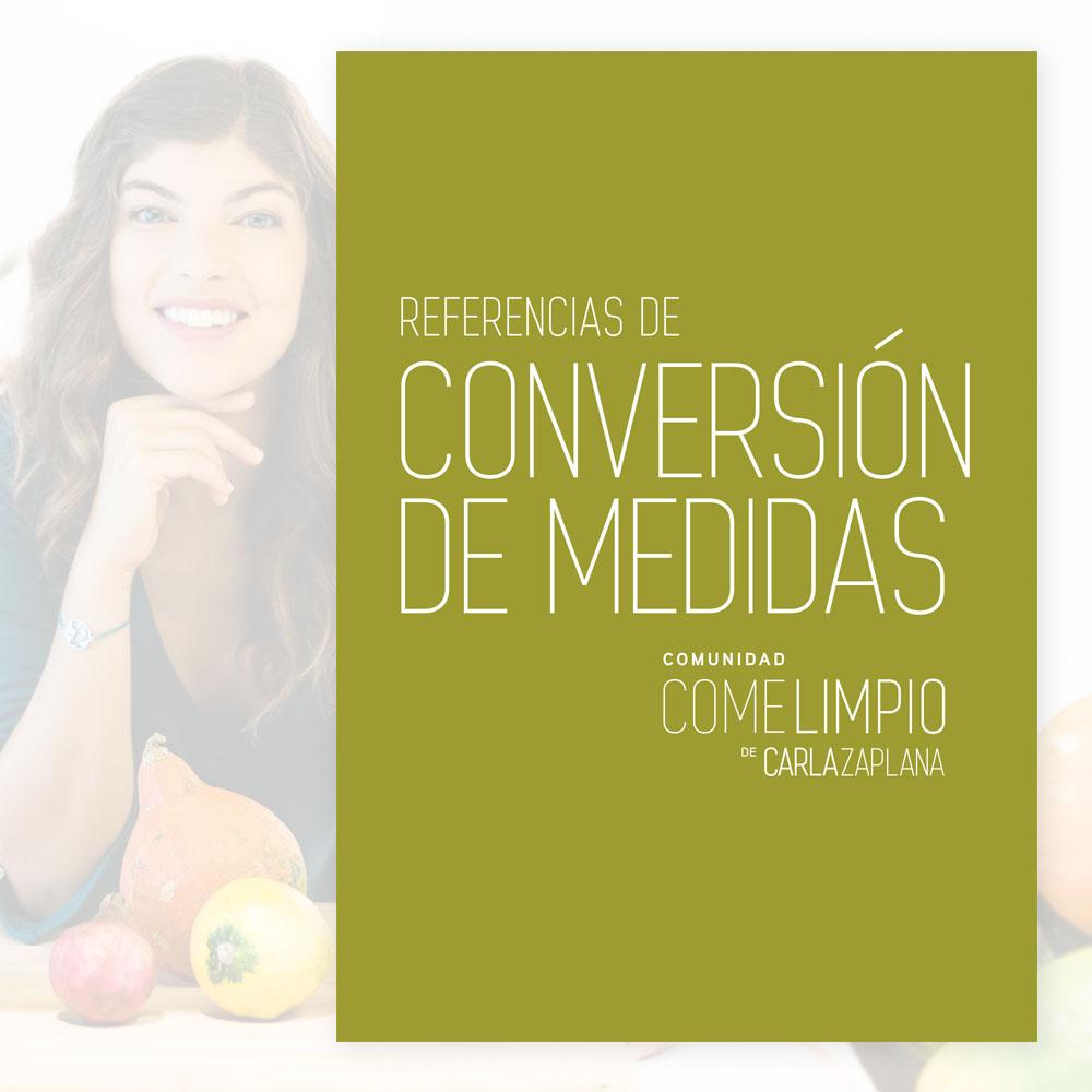 Ebook, Conversión de Medidas, Comunidad, Come Limpio, Carla Zaplana